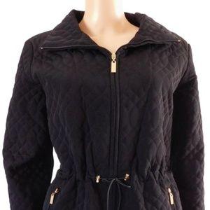 Ellen Tracy Quilted Anorak Jacket Coat L G New